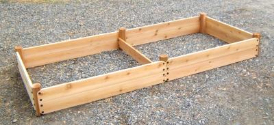 Large Rectangular Raised Cedar Garden Bed with Twin Plots